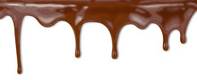 Liquid Chocolate Dripping From Cake On White Background With Cli