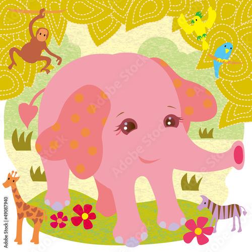 Poster de jardin Zoo ピンクの象さん