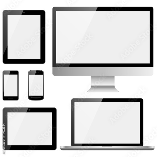 Fotografie, Obraz  Electronic Devices with White Screens
