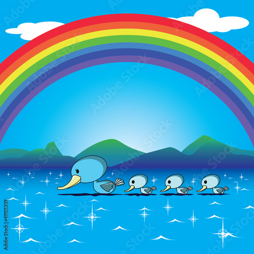 Fotobehang Rivier, meer ducks and rainbow in the lake vector for a happy card