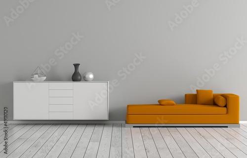 Oranges Sofa Billede på lærred