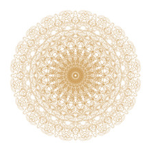 Decorative Gold And Frame With Vintage Round Patterns On White!