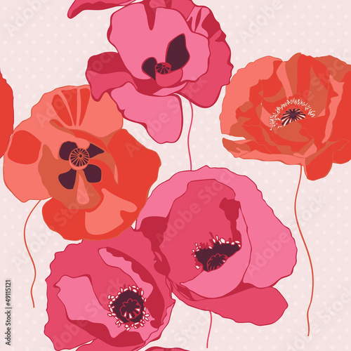 Tuinposter Abstract bloemen Decorative background with poppies flower. Seamless pattern.