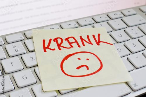 Fotografia  Notiz auf Computer Tastatur: Krank