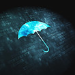 Protection concept: Umbrella on digital background