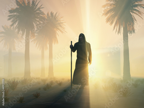 Fotomural wandering monk at sunrise