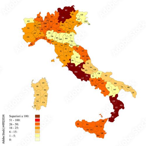 Province italiane con esempio di legenda numerica Poster