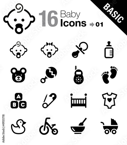 Basic - Baby icons Tablou Canvas