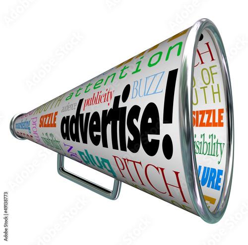 Fotografía  Advertise Bullhorn Megaphone Words of Marketing