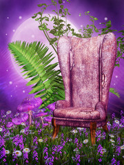 Plakat Stary fotel na łące z kwiatami i paprocią
