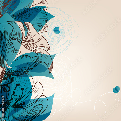 Montage in der Fensternische Abstrakte Blumen Vector blue flower background