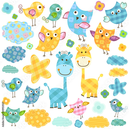 Garden Poster Birds, bees cute owls and giraffes