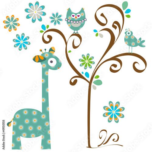 owl and giraffe Poster
