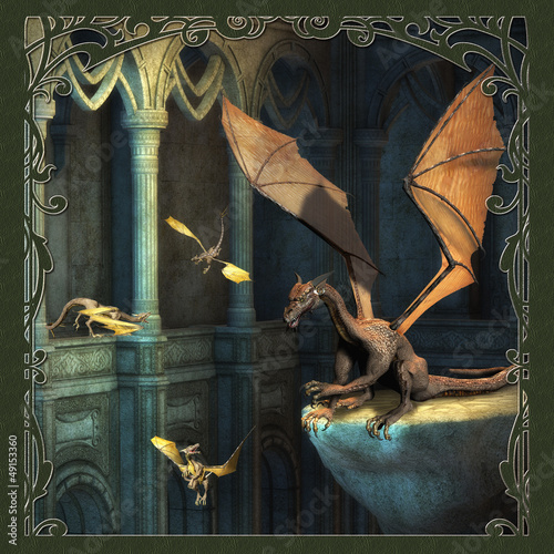 Foto op Aluminium Draken Fantasy Scene With Dragons - Computer Artwork