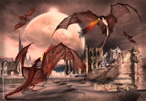 Stickers pour portes Dragons Fantasy Scene With Fighting Dragons