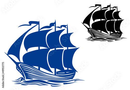 Brigantine sail ship Canvas Print