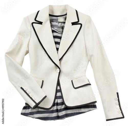 White blazer with striped t shirt Canvas Print
