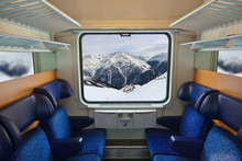 Interior Of Train And Mountain...