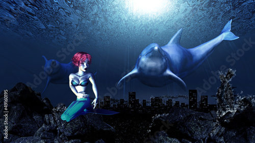 Wall Murals Mermaid Underwater dolphins and mermaid