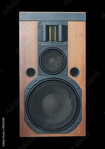 Valokuva  Loud speaker system with wood finish and metal grills isolated