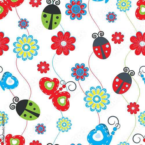 Poster Lieveheersbeestjes Ladybirds and butterflies seamless pattern