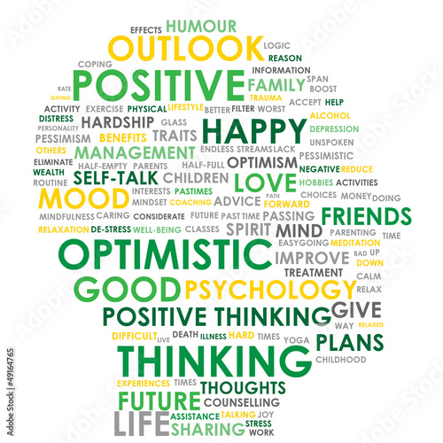 Fotografie, Obraz  POSITIVE THINKING Tag Cloud (optimistic happy head mind)