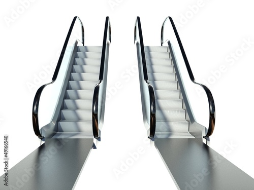 Photographie Moving escalator stairs isolated on white