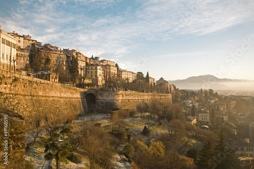 Photo  Bergamo - Walls and palaces of upper town in morning light