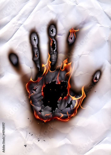 Poster Flamme Burning hand-print