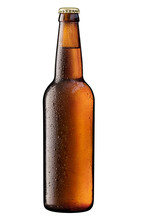 Brown Bottle Of Beer On White   Clipping Path