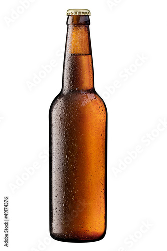 brown bottle of beer on white + Clipping Path