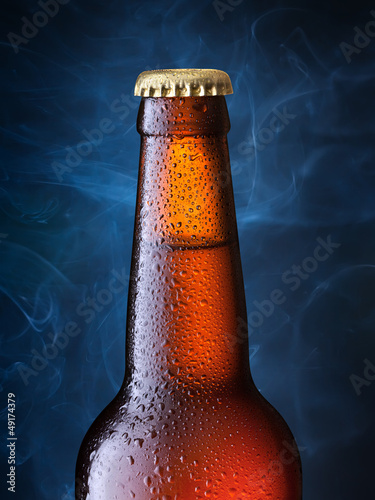 brown bottle of beer + Clipping Path Wallpaper Mural
