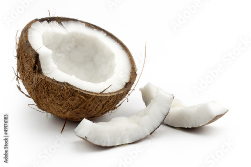 Obraz na plátne coconut cut in half on white background