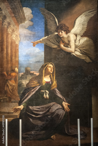 Annunciation - Painting in the San Nicola church of Tolentino Wallpaper Mural