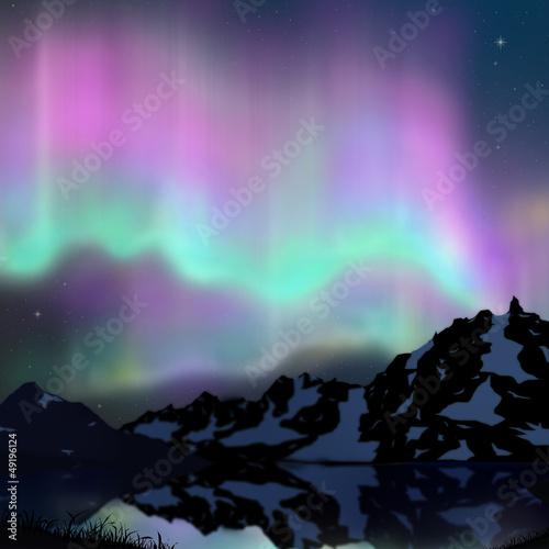 Photo  aurora over lake