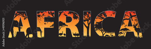 Africa silhouette with African wild animals