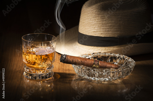 Poster Havana Whiskey and cigar