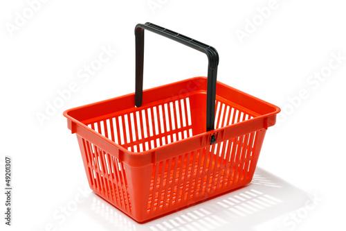 Fotografija  Red shopping basket, isolated on white background