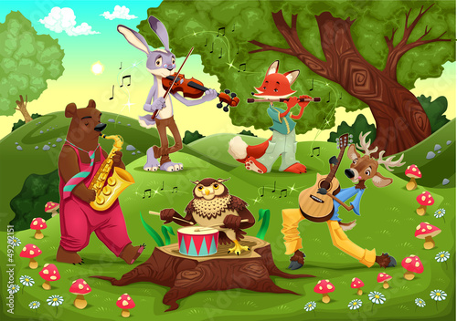 Wall Murals Bears Musicians animals in the wood.