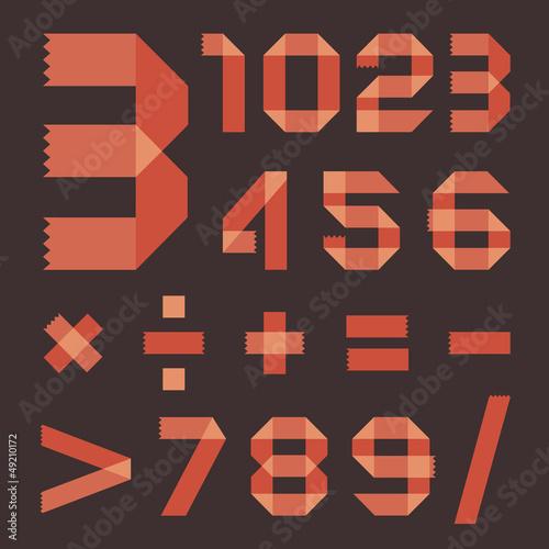 Photo Font from reddish scotch tape - Arabic numerals