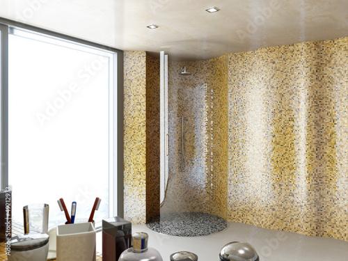 Rund Glas Dusche Im Mosaik Badezimmer Buy This Stock Illustration