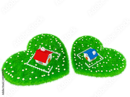 Fototapety, obrazy: House is located on grassland in the shape of a heart