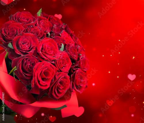 Naklejka na szybę Big Red Roses Bouquet