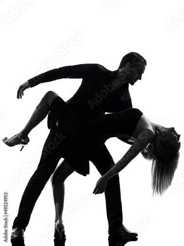 Fotografie, Obraz  couple woman man dancing dancers salsa rock silhouette
