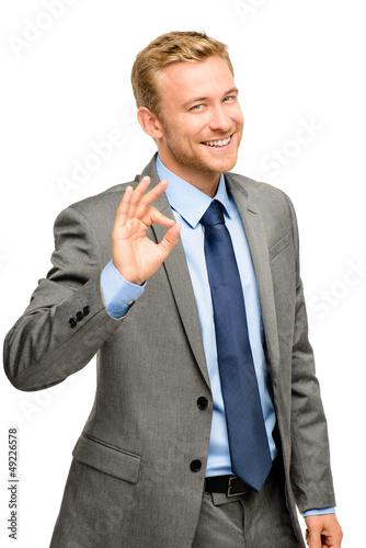 Fotografie, Obraz  Happy businessman man okay sign - portrait on white background