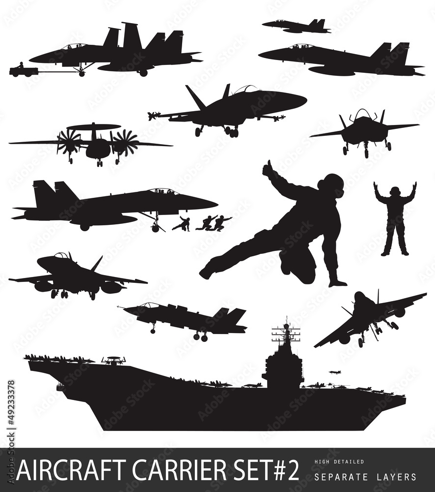 Photo  Naval aircrafts high detailed vector silhouettes. Set #2.