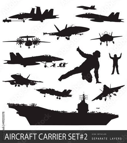 Naval aircrafts high detailed vector silhouettes. Set #2. Canvas Print
