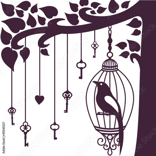 Recess Fitting Birds in cages bird keys tree silhouette