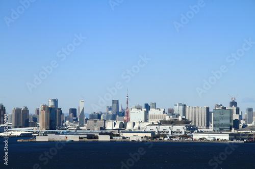 Deurstickers Tokyo 東京タワーとビル群