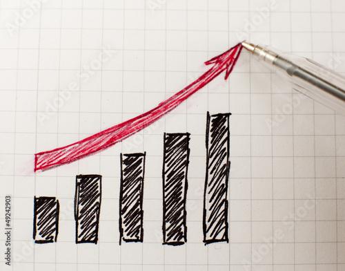 Fotografering  graphique montant ers le haut